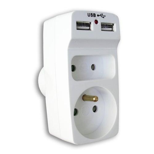 Rozgałęźnik elektryczny 2 gniazda z uziemieniem i 2 x USB