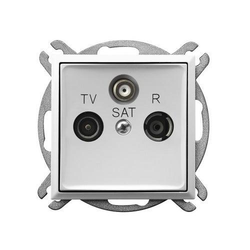 Ospel Aria biały gniazdo antenowe R-TV-SAT przelotowe