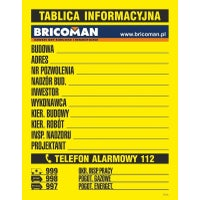 Tablica informacyjna budowlana z logo BRICOMAN 70x90 cm