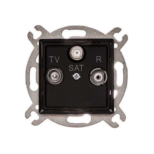 Polmark Rosa czarny mat gniazdo antenowe R-TV-SAT przelotowe