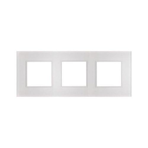 Polmark Rosa ramka szklana kryształowa biel potrójna
