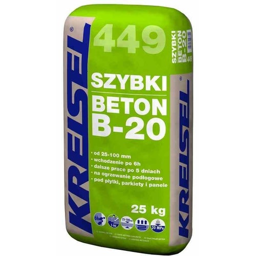 Zaprawa cementowa Beton B-20 Kreisel 449 25 kg, podkład podłogowy, 25-100 mm