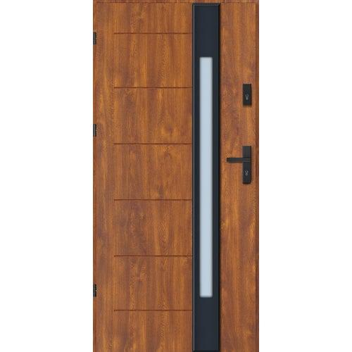 Drzwi wejściowe Lugano Nero 90 cm, lewe, dąb złoty