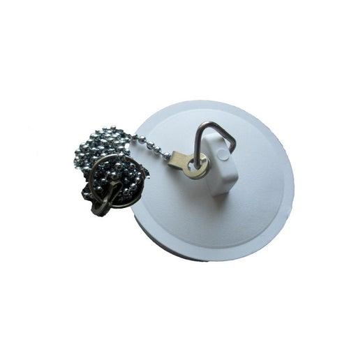 Korek syfonu umywalki z łańcszkiem biały