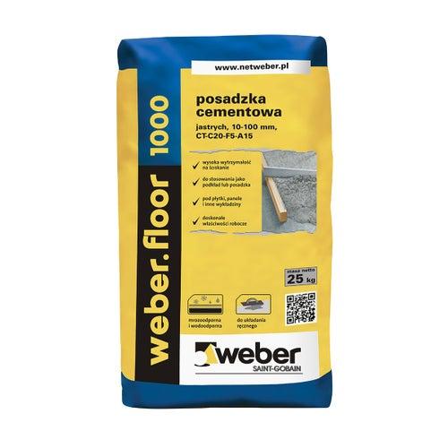 Posadzka cementowa Weber Floor1000, CT-C20-F5-A15 25 kg, 10-100 mm