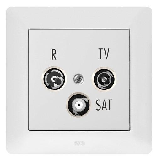 Elektroplast Astoria biały gniazdo antenowe RTV-SAT końcowe z ramką