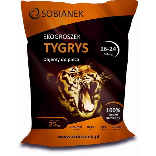 Ekogroszek Tygrys 24 MJ 25 kg z transportem