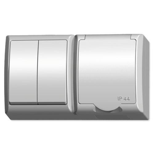 Ospel Fala biały łącznik podwójny + gniazdo pojedyncze z uziemieniem IP44