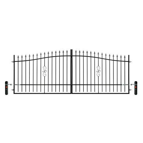 Brama ogrodzeniowa dwuskrzydłowa Volta czarna, 130-150x400 cm, z automatem do bram