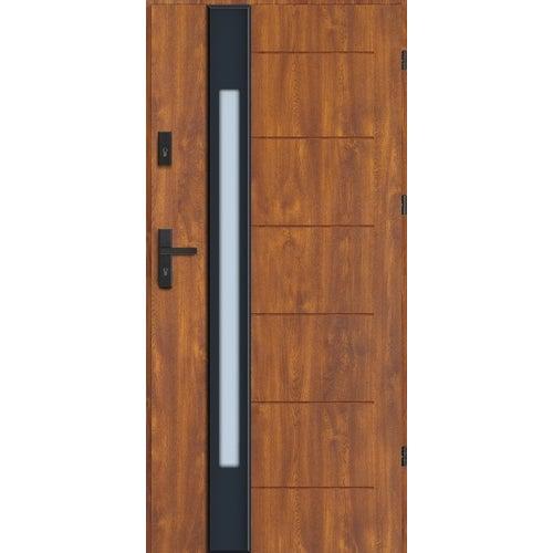 Drzwi wejściowe Lugano Nero 90 cm, prawe, dąb złoty