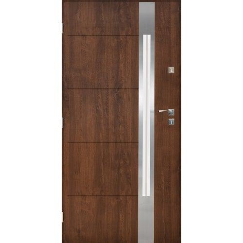 Drzwi zewnętrzne przeszklone Monachium 90 cm lewe inox orzech