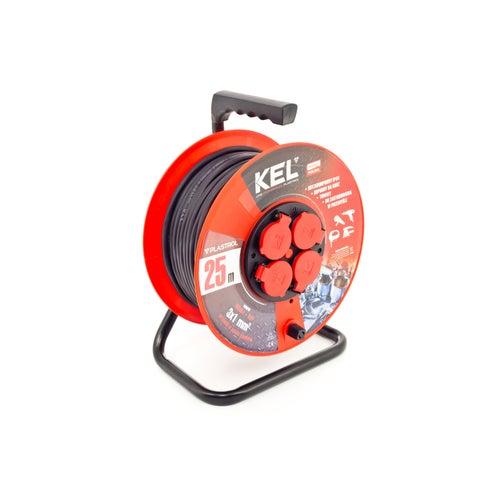 Przedłużacz bębnowy Professional 25m 3x1 guma 4x2P+Z IP44