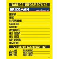 Tablica Informacyjna budowlana z logo Bricoman 50x70 cm