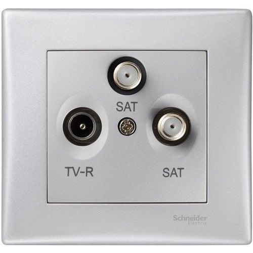 Schneider Sedna aluminium gniazdo R-TV-SAT przelotowe