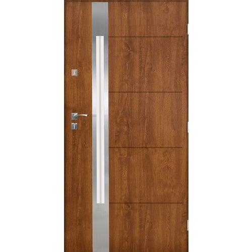 Drzwi zewnętrzne przeszklone Monachium 90 cm prawe inox złoty dąb