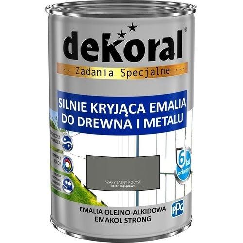 Emalia olejno-alkidowa Dekoral Emakol Strong szary jasny 0,9l
