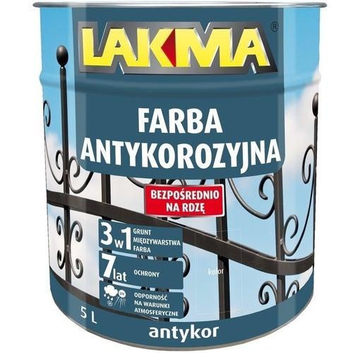 Farba antykorozyjna Antykor Lakma brązowy 5l