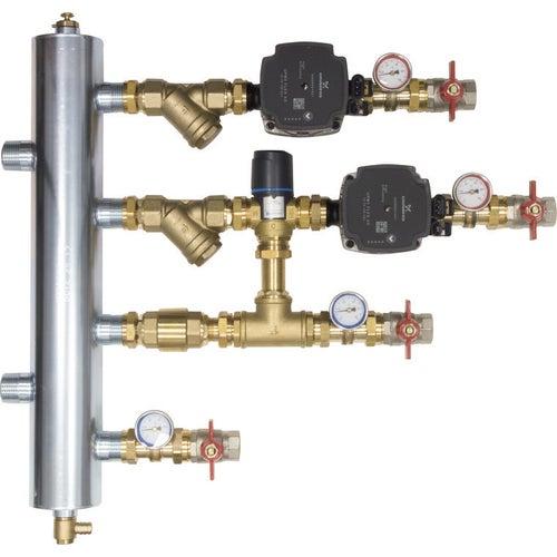 Zestaw mieszający ze sprzęgłem hydraulicznym BPS bez mieszania, z pompami Grundfos i zaworem termostatycznym ATM 561 (9090100)