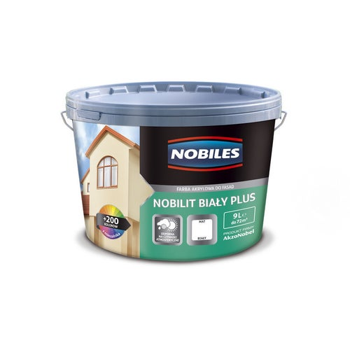 Nobiles Nobilit Plus farba akrylowa do fasad biała 9L
