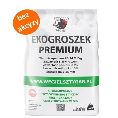Ekogroszek Sztygar Premium 26 MJ 25 kg bez akcyzy