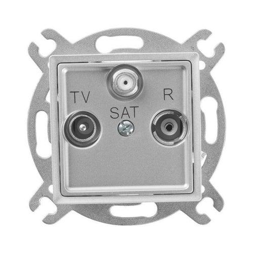 Polmark Rosa srebrny metalik gniazdo antenowe R-TV-SAT końcowe