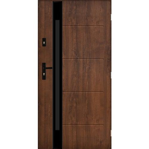 Drzwi zewnętrzne przeszklone Rzym 90 cm prawe orzech
