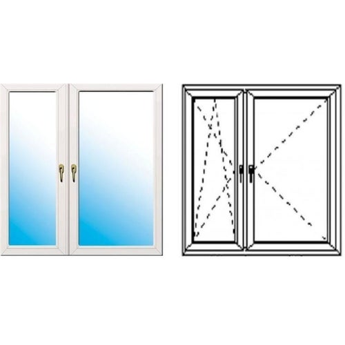 Okno fasadowe 2-szybowe  PCV O35 rozwierno-uchylne + rozwierne asymetryczne lewe 1465x1435 mm białe