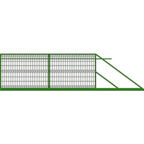 Brama ogrodzeniowa panelowa przesuwna zielona, 150x400 cm, prawa