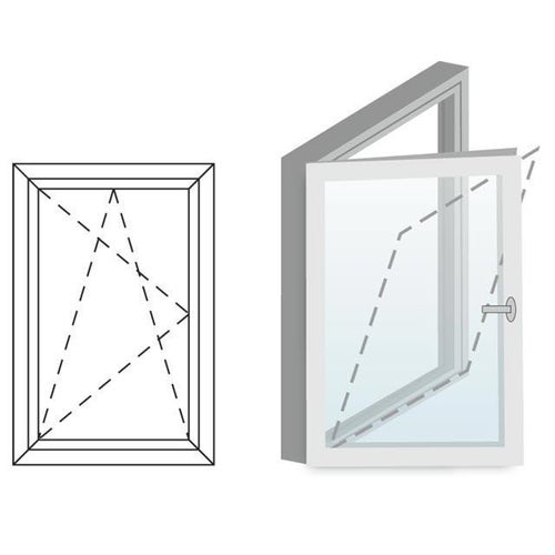Okno fasadowe 2-szybowe  PCV O1 rozwierno-uchylne jednoskrzydłowe lewe 565x535 mm białe
