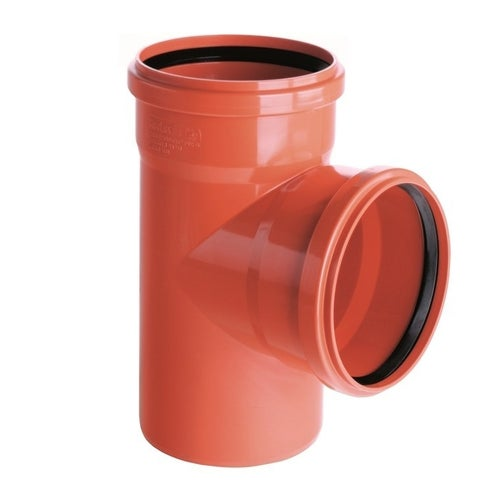 Trójnik kanalizacyjny zewnętrzny, PVC fi 110/110 mm, kąt 90°