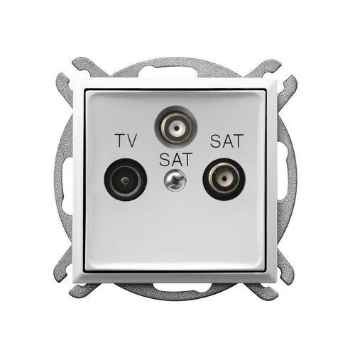 Ospel Aria biały gniazdo antenowe TV-2x SAT końcowe