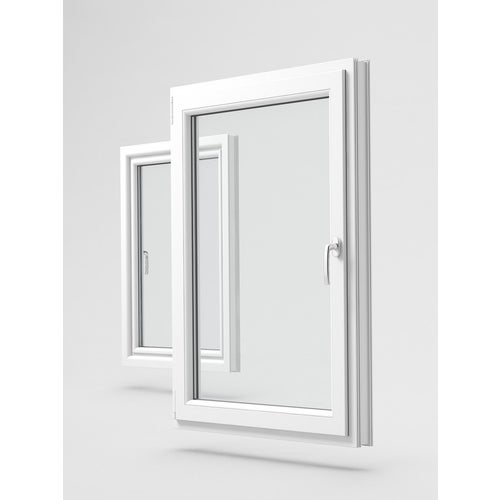 Okno fasadowe 3-szybowe PCV O1 rozwierno-uchylne jednoskrzydłowe lewe 565X535 mm biały