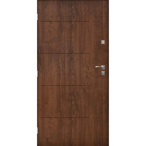 Drzwi zewnętrzne pełne Lublin 90 cm lewe orzech
