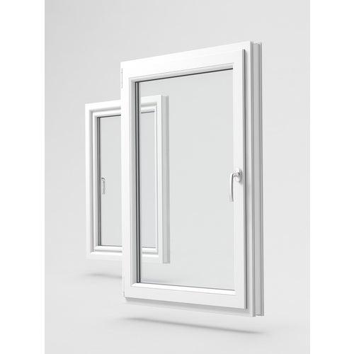 Okno fasadowe 3-szybowe PCV O27  rozwierno-uchylne jednoskrzydłowe lewe 565X1435 mm biały
