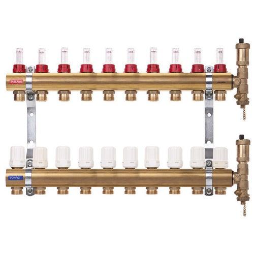 Rozdzielacz mosiężny z przepływomierzami i zaworami termostatycznymi 10-sekcji