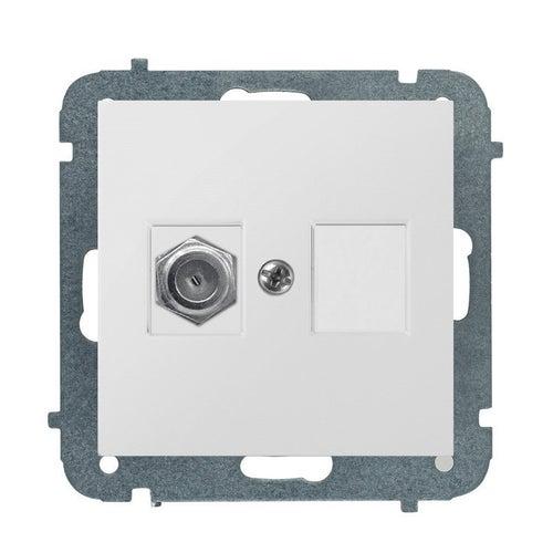 Elektroplast SENTIA biała gniazdo antenowe 1x F