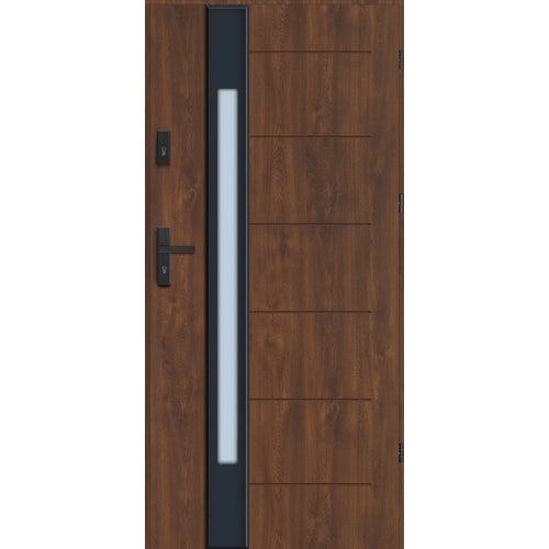 Drzwi zewnętrzne Lugano Nero 90 cm, prawe, orzech