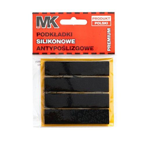 Podkładki antypoślizgowe silikonowe 17x75 mm czarne 4 szt.