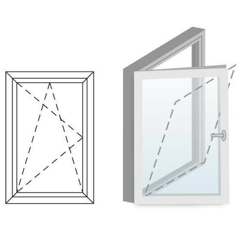 Okno fasadowe 2-szybowe  PCV O27 rozwierno-uchylne jednoskrzydłowe lewe 565x1435 mm białe
