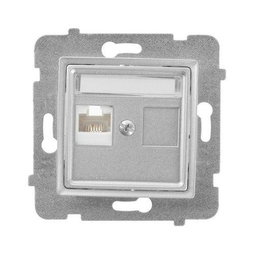 Polmark Rosa srebrny metalik gniazdo komputerowe 1xRJ45 kat 5