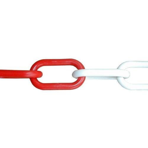 Łańcuch dekoracyjny plastikowy 6 mm biało-czerwony / 1 m.b.
