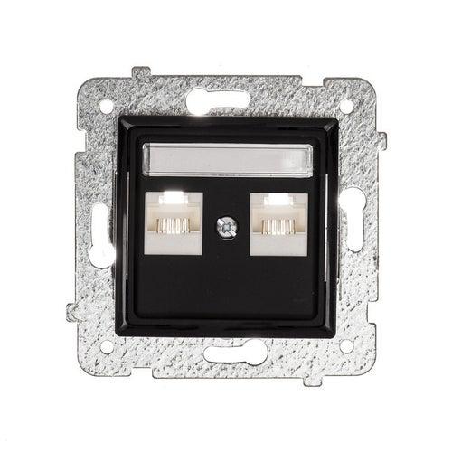Polmark Rosa czarny mat gniazdo komputerowe 2xRJ45 kat 5
