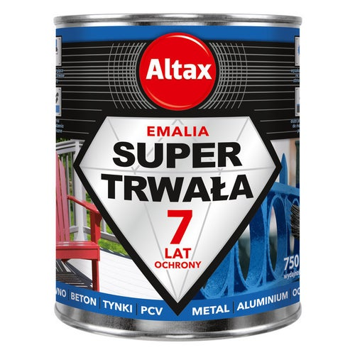 Altax Emalia Super Trwała do drewna, metalu szary 0,75L