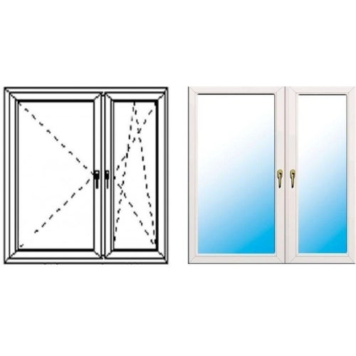 Okno fasadowe 2-szybowe  PCV O34 rozwierno-uchylne + rozwierne asymetryczne prawe 1465x1435 mm białe