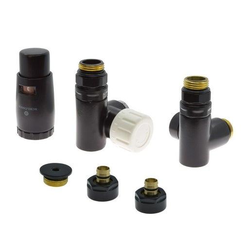Zestaw termostatyczny trójników do grzałki z korkiem i złączkami PEX, lewy, czarny matowy