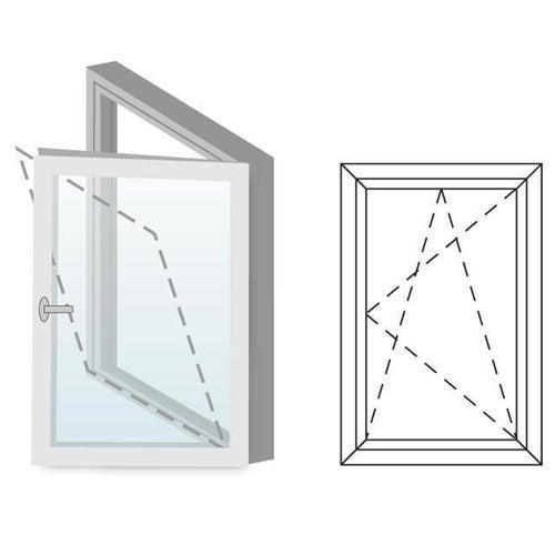 Okno fasadowe 2-szybowe  PCV O4 rozwierno-uchylne jednoskrzydłowe prawe 565x835 mm białe
