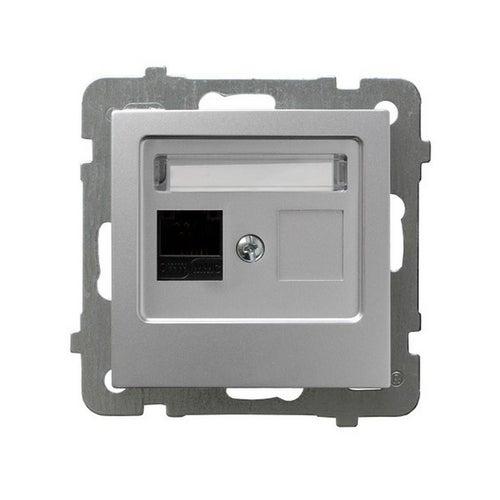 As srebrny gniazdo komputerowe RJ45