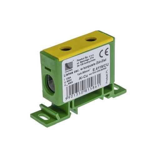 Listwa zaciskowa AL/CU 2,5-50 zółto-zielona E.4119/CU