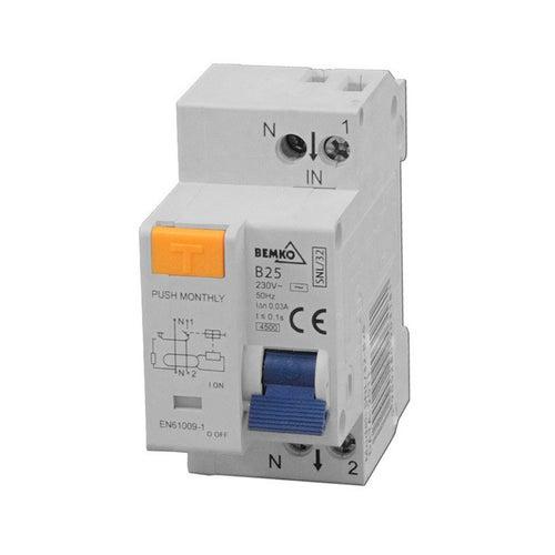 Wyłącznik różnicowoprądowy 1P+N B16A 30mA AC A06-SNL-32-B1 Bemko