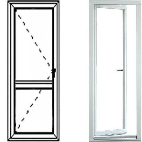 Okno balkonowe 2-szybowe  PCV OB5 prawe 865x2195 mm białe